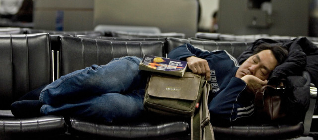 sleeping airport